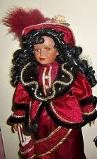 Rare Collectable Victorian Porcelain African American Doll Maroon/Red Dress