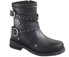 Harley-Davidson Black Leather Low Cut Motorcycle Biker Womens boots Size 4 37