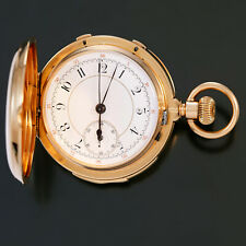 RARE 18K GOLD MINUTE REPEATER SPLIT SECOND CHRONOGRAPH POCKET WATCH CA1890