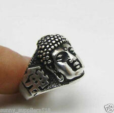 Vintage Beautiful Tibet Silver Carved Buddha head Ring7# 8#
