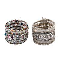 Silvertone Set of 2 Elegant Cuff Bangle Bracelet Women Mother Day Gifts