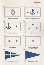 URUGUAY FLAGS. President's Standard. Minister of National Defence. Admiral 1958
