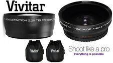 2-PC PRO HI-DEF TELEPHOTO & WIDE ANGLE LENS SET FOR CANON POWERSHOT SX520 HS