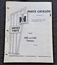 1957 FARMALL INTERNATIONAL HARVESTER 600 & 650 TRACTOR PARTS CATALOG MANUAL nice