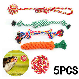 5Pcs Dog Rope Chew Toys Kit Tough Strong Knot Ball Pet Puppy Cotton Teething Toy