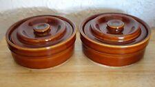 Set of 2 Pfaltzgraff BROWN 12 oz individual casserole bowls with lids #305