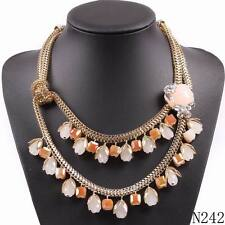 Gold Plated Chain Flower Crystal Pendant Statement Necklaces For Girls Jewelry