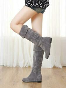 Women Preppy Round Toe Suede Pull On Slouch Knee Boots Casual Winter Fashion
