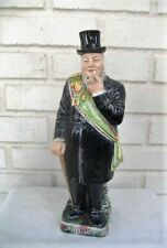Outstanding  Antique German Majolica Figural Decanter Bottle 12 & 3/4 Inches