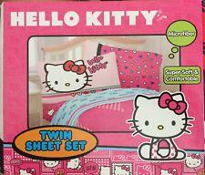 New Hello Kitty Hearts Microfiber Twin Sheet Set 3Pc  NIP