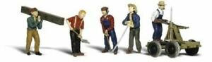 WOODLAND SCENICS HO SCALE RAIL WORKERS WITH HANDCAR (5)   BN   1898