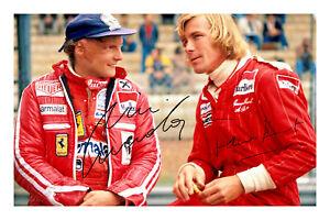 Niki Lauda & James Hunt Signed A4 Photo Print Autograph Formula 1 World Champion