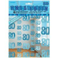 Blue Glitz 80th Birthday Hanging Decorations Pack 6 5ft Strands Unique Party