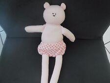 84/ doudou peluche ours rose culotte à pois PETIT BATEAU 26cm
