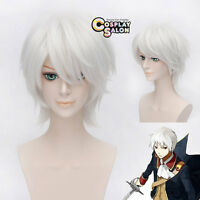Gintoki Sakata Short Men Silver White Layered Cosplay Hair Wig + Free Cap