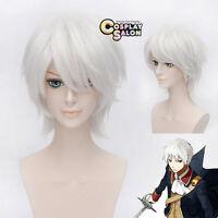 Gintoki Sakata Short Men Silver White Layered Cosplay Hair Wig + Free Cap