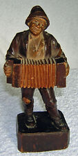 ANTIQUE CARVED WOOD BLACK FOREST ACCORDIAN PLAYER
