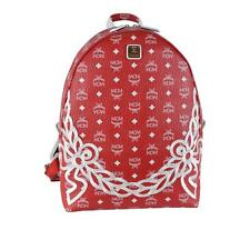 New MCM Backpack Dietrich Laurel Coated Canvas Red White Visetos Logo Bag