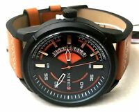 Men's Fashion Watch with Date M8298 Orange Leather Band Water Resistant 1 ATM