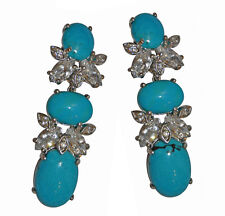 JARIN CZ & Turquoise Dangle  Sterling Clip Earrings