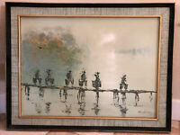 Listed Artist YW Leung Signed Painting Vietnamese Mid Century Modern MCM 35 X 27