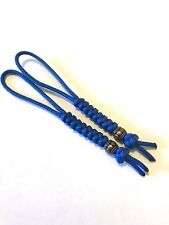 95 Paracord Micro Knife Lanyard 2pk, Blue Cord Snake Knot With Metal Bead