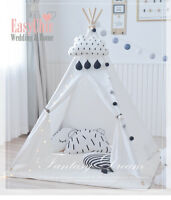 Large Boy Girl Teepee Tent Kids Gift Playhouse White Pink Blue Indoor Outdoor