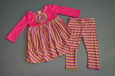 Freckles and Kitty 24mo Holiday pink, green, purple dress/leggings EUC