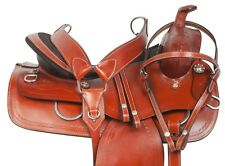 Western Roping Ranch Pleasure Trail Saddle Leather Matching Horse Tack Set 16