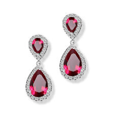 Women Elegance White Gold Filled Hoop Drop Dangle Ruby Earrings Wedding Jewelry