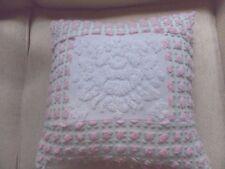 Handmade Pillow Case Rose Motif/ Pink Rosebud fr Vint Chenille Bedspread 14 x 14