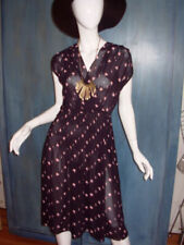 Vintage 70s wrap dress red rose embroidered appliqu\u00e9black ruffle flutter sleeves day dress