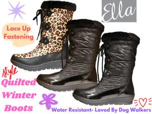 Ladies Ella Quilted Patent Leopard Print Lace Up Flat Rain Wellington Snow Boots