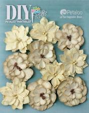 Dahlia Mix CREAM 10 Teastained Paper Flowers 40mm Darjeeling Petaloo Ver