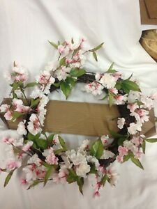 18″ Artificial Cherry Blossom Wreath Pink/Green – Threshold