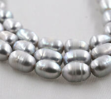 """New natural 9-10mm Silver rice freshwater pearl loose beads 15 """" AAA"""