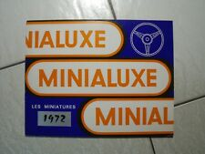 MINIALUXE  1/43  CATALOGUE  1972  11  PLANCHES  A4  VROOM  IDEM  DEPREUX  NOREV