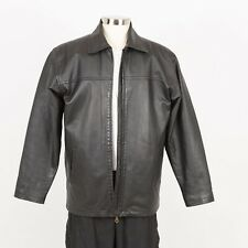 Mens Leather Jacket Size L Large Insulated Faux Fur Removable Liner