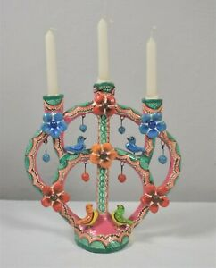 Colorful Tree Of Life Candelabra Mexican Ceramic Folk Art Birds Flower Balls