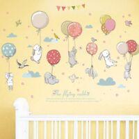 Cute Cartoon Rabbit Balloon Wall Stickers DIY Children Bedroom Decoration 81