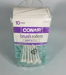 Conair Brush Rollers 10 Large Green With Plastic Hair Pins All Hair Types