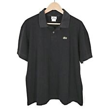 LACOSTE Mens Classic Fit Polo Shirt Black Cotton Pique Size 6  XL