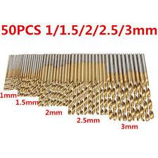 50PCS Twist Drill Bits HSS High Steel Titanium Saw Bits Drilling Wood and Metal