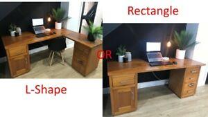 Solid Oak Premium 1.8m Executive Desk (Convertible L-Shape/Rectangular)