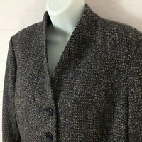 Coldwater Creek tweed womens size 12 multicolored long sleeve button up blazer