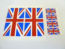 4 Union Jack Flag Window Stickers, Great Britain, 'Inside Fix Outside View'