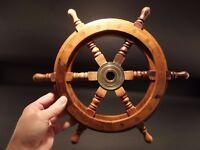 "13"" Vintage Antique Style Wood Nautical Ships Helm Steering Wheel"