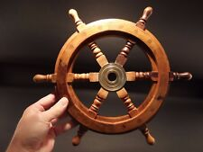 "13"" Vintage Antique Style Wood Nautical Ships Helm Steering Wheel"