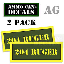 204 RUGER Ammo Can Labels Ammunition Decal Sticker 2 pack AG