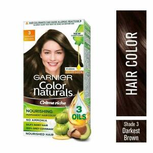 3.00 Garnier Hair Color Cream No Ammonia Grey Coverage Darkest Brown Shade -70ml
